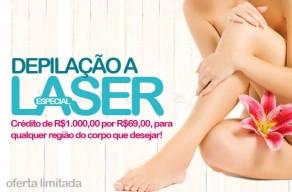 Especial: Crédito de R$1.000,00 por R$69,00 para Depilação a Laser, para qualquer região do corpo que desejar!