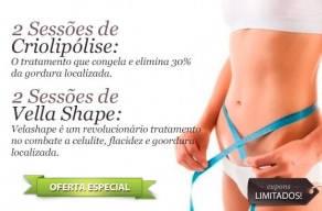 Tratamento Especial para Deixar seu Corpo Lindo! 2 Sessões de Criolipólise + 2 Sessões de Vella Shape por apenas R$169,00